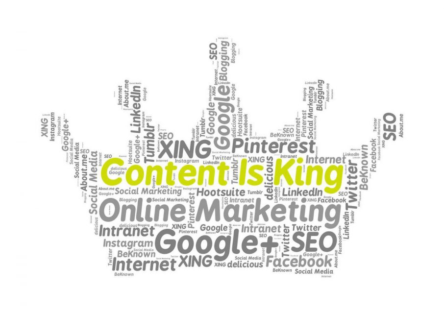 Content is king - crown with marketing words