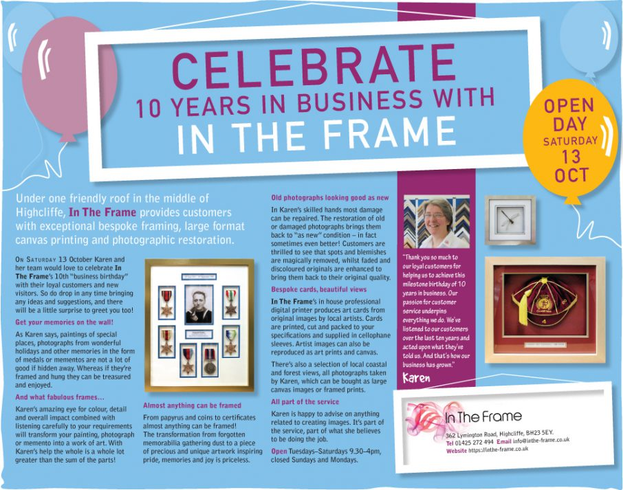 Advertorial for In The Frame - half page in Lymington Times